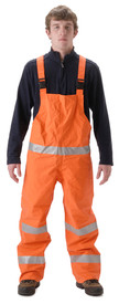 Nasco FR CAT 2 Orange Rain Bib Overall - Front View of Young Man wearing NASCO orange rain bib overalls with reflective tape around the waist and 2 reflective tape around each leg