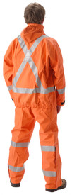 NASCO PetroLite FR CAT 2 Orange Rain Jacket  - Young Man wearing a NASCO orange rain jacket with reflective tape around both arms, around the waist and up to the shoulders in the front