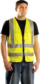 Occunomix Class 2 Solid 12 Pockets Safety Vest - Occunomix High visibility yellow front zippered vest with  2 horizontal 2 inch silver reflective tape around the waist and silver reflective tape going up the vest and over both shoulders and 2 front upper pockets on the left and right sides