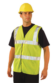 Occunomix Class 2 Mesh 2 Stripe Safety Vest - Occunomix High visibility yellow mesh vest with silver reflective tape on chest up and over shoulders and 2 2 inch silver reflective tape around body under arms and waist with hook and loop closure