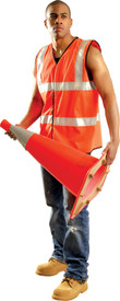Occunomix Class 2 Solid Safety Vest - Occunomix Orange high visibility solid vest with 2 silver 2 inch reflective strips going around body and silver reflective tape going up chest and over shoulders. Vest also has hook and loop front closure