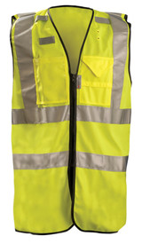 Occunomix Class 2 Solid 3 Pockets Safety Vest - Occunomix Yellow high visibility solid zippered front vest with 2 silver reflective horizontal tape around chest and silver reflective tape going up the front and over each shoulder. 2 front pockets and 3 mic tabs on front of vest