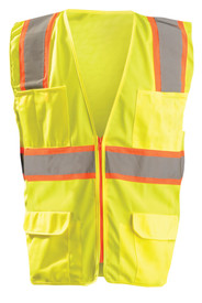 Occunomix Class 2 Solid 6 Pockets Safety Vest - Occunomix Yellow solid high visibility front zippered vest with 1 silver on orange horizontal tape, silver on orange reflective tape on right and left side going up and over shoulders, 2 lower pockets with flaps, 4 pen pockets on upper left and 2 pocket with 2 divided sections on upper right side.