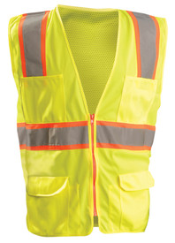 Occunomix Class 2 Solid Mesh 6 Pockets Safety Vest - Occunomix Yellow Mesh high visibility front zippered vest with 1 silver on orange horizontal tape, silver on orange reflective tape on right and left side going up and over shoulders, 2 lower pockets with flaps, 4 pen pockets on upper left and 2 pocket with 2 divided sections on upper right side.