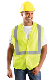 Occunomix Class 2 Mesh 2 Inch Tape HV Yellow Safety Vest - Front view of man wearing Occunomix Hi-Viz Yellow Safety Vest with a silver reflective stripe going up both front sides and over the shoulders and one silver reflective stripe going around the waist