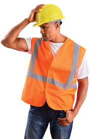 Occunomix Class 2 Mesh 2 Inch Tape HV Orange Safety Vest - Front view of man wearing Occunomix Hi-Viz Orange Safety Vest with a silver reflective stripe going up both front sides and over the shoulders and one silver reflective stripe going around the waist