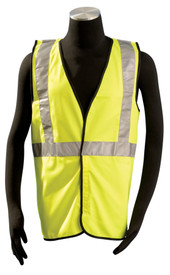 Occunomix Class 2 Solid Single Pocket Safety Vest - Model wearing Occunomix yellow solid hook & loop front closure safety vest with horizontal silver reflective tape around waist and silver reflective vertical tape up the front of the vest and going over shoulders