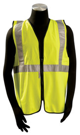 Occunomix Class 2 Solid Standard Safety Vest - Front View of Model wearing Occunomix yellow solid safety vest with 1 horizontal silver reflective tape and silver reflective tape going up front on each side and over both shoulders