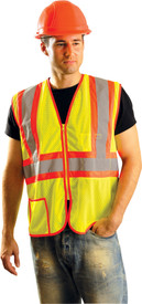 Occunomix Class 2 Mesh 2 Tone 2 Pocket Safety Vest - Front view of man wearing Occunomix yellow mesh safety vest with zipper front closure, horizontal 2 inch silver on orange reflective tape, 2 inch silver on orange reflective tape going vertical up each chest side and over shoulders and 1 lower outside pocket