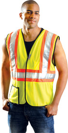 Occunomix Class 2 Mesh 2 Tone Hook & Loop Safety Vest - Font view of man wearing Occunomix Hi-Viz Mesh Yellow Safety Vest with Silver reflective tape on contrasting orange tape going around the vest and 2 reflective tape going up the front of the vest and over the shoulders. One outside lower right pocket and 1 inside upper left pocket. Vest edging trimmed with black binding.