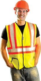 Occunomix Class 2 Solid 2 Tone Hook & Loop Safety Vest - Font view of man wearing Occunomix Hi-Viz Solid Yellow Safety Vest with Silver reflective tape on contrasting orange tape going around the vest and 2 reflective tape going up the front of the vest and over the shoulders. One outside lower right pocket and 1 inside upper left pocket. Vest edging trimmed with black binding.