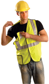 Occunomix Class 2 Solid Hook & Loop Safety Vest - Front view of man wearing Occunomix yellow high visibility solid safety vest with hook & loop front closure, 1 lower outside right pocket, silver reflective horizontal tape around waist and silver reflective tape up both front sides and over shoulders and right vest shoulder pulled away from back showing the Break-Away vest.