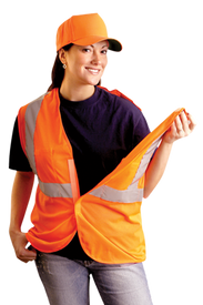 Occunomix Class 2 Breakaway Mesh Safety Vest - Front view of woman wearing Occunomix orange high visibility mesh safety vest with hook & loop front closure, silver reflective horizontal tape around waist and silver reflective tape up both front sides and over shoulders and left vest shoulder pulled away from back showing the Break-Away vest.