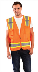 Occunomix Class 2 Solid 2 Tone Surveyor Safety Vest - Front view of man wearing Occunomix orange high visibility solid safety vest with zipper front closure, silver on yellow reflective horizontal tape around lower vest and silver on yellow reflective tape up right and left sides and over shoulders, 1 large pocket on upper left side, 1 radio  pocket on upper right side and 2 large pockets with flaps on lower right and left side.