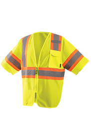 Occunomix Class 3 Hi-Viz Mesh 2 Tone Safety Vest - Front view of Occunomix yellow Hi-Viz safety mesh vest with sleeve, front zipper closure and silver on orange reflective tape going around the vest and up over both shoulders. Cell Phone pocket with flap  and mic tab on upper left side of vest. Both sleeves also have 360 silver on orange tape.