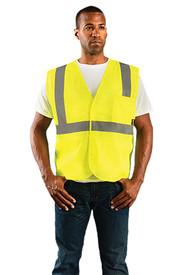 Occunomix Class 2 Hi-Viz Mesh 2 Pockets Safety Vest - Front view of man wearing Occunomix yellow high visibility mesh safety vest with Hook & Loop front closure, silver reflective horizontal tape around waist and silver reflective tape up right and left sides and over shoulders and 1 large pocket on upper left side.