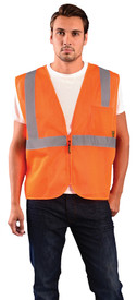 Occunomix Class 2 Mesh Zipper 2 Pockets Safety Vest - Front view of man wearing Occunomix orange high visibility mesh safety vest with zipper front closure, silver reflective horizontal tape around waist and silver reflective tape up right and left sides and over shoulders and 1 large pocket on upper left side.