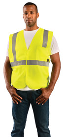 Occunomix Class 2 Solid 2 Pockets Safety Vest - Front view of man wearing Occunomix yellow high visibility solid safety vest with hook & loop front closure, silver reflective horizontal tape around waist and silver reflective tape up right and left sides and over shoulders and 1 large pocket on upper left side.