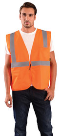 Occunomix Class 2 Solid 2 Pockets Zipper  Safety Vest - Front view of man wearing Occunomix orange high visibility solid safety vest with zipper front closure, silver reflective horizontal tape around waist and silver reflective tape up right and left sides and over shoulders and 1 large pocket on upper left side.