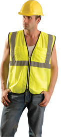 Occunomix Class 2 Surveyor Hi-Viz Safety Vest - Front view of man wearing Occunomix yellow high visibility mesh safety vest with zipper front closure, silver reflective horizontal tape around vest and silver reflective tape up right and left sides and over shoulders and 1 large pocket on upper left side with pen compartments and 1 large pocket on upper right side with pen compartments.