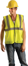 Occunomix Standard Class 2 Hook & Loop Safety Vest - Front view of man wearing Occunomix yellow high visibility mesh safety vest with hook & loop front closure, silver reflective horizontal tape around vest and silver reflective tape up right and left sides and over shoulders.