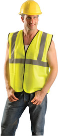 Occunomix Class 2 Hi-Viz Solid Safety Vest - Front view of man wearing Occunomix yellow high visibility solid safety vest with hook & loop front closure, silver reflective horizontal tape around vest and silver reflective tape up right and left sides and over shoulders.