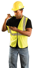 Occunomix Class 2 Hi-Viz 5 Point Mesh Breakaway Safety Vest - Front view of man wearing Occunomix yellow high visibility mesh safety vest with hook & loop front closure, silver reflective horizontal tape around vest and silver reflective tape up right and left sides and over shoulders and man holding right should away from back of vest to show break-away vest connection
