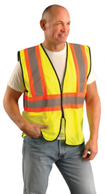Occunomix Hi-Viz Class 2 Mesh 2 Tone Safety Vest - Front view of man wearing Occunomix yellow high visibility mesh safety vest with zipper front closure, silver on orange reflective horizontal tape around vest and silver reflective tape up right and left sides and over shoulders.