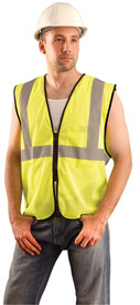 Occunomix Class 2 Hi-Viz Mesh Zipper Safety Vest - Front view of man wearing Occunomix yellow high visibility mesh safety vest with zipper front closure, silver reflective horizontal tape around vest and silver reflective tape up right and left sides and over shoulders.