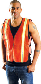 Occunomix NON-ANSI Mesh 2 Tone Safety Vest - Front view of man wearing Occunomix orange high visibility mesh safety vest with silver on yellow narrow width reflective tape up right and left sides and over shoulders and elastic sides