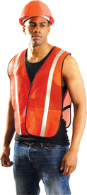 Occunomix NON-ANSI Mesh 1 Inch Reflective Tape Safety Vest - Front side view of man wearing Occunomix orange mesh safety vest with thin 1 inch silver tape on the front and over the shoulders and side elastic straps. One inside lower left pocket and black binding around all edges of the vest.