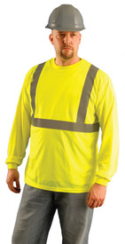 Occunomix Class 2 Lightweight Hi-Viz Long Sleeve T-Shirt - Front view of man wearing Occunomix yellow hi visibility long sleeve safety t-shirt with silver reflective tape around shirt mid section and silver reflective tape up the front and over the shoulders.