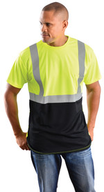 Occunomix 2 Stripe 1 Pocket Short Sleeve T-Shirt - Front view of man wearing Occunomix yellow hi visibility short sleeve safety t-shirt with silver reflective tape around shirt mid section, silver reflective tape up the front and over the shoulders, upper left chest pocket and black bottom on shirt.