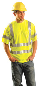 Occunomix 2 Stripe Class 1 Pocket Short Sleeve T-Shirt - Front view of man wearing Occunomix yellow hi visibility short sleeve safety t-shirt with 2 silver reflective tape around shirt mid section, silver reflective tape up the front and over the shoulders, silver reflective tape around both sleeves and upper left chest pocket.