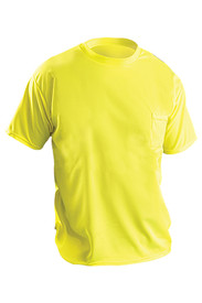 Occunomix Non-ANSI Single Pocket Polyester T-Shirt - Front view of Occunomix yellow hi visibility short sleeve safety t-shirt with upper left chest pocket.