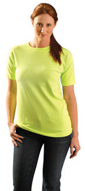 Occunomix NON-ANSI Short Sleeve T-Shirt - Front view of girl wearing Occunomix yellow hi visibility short sleeve safety t-shirt.