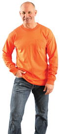 Occunomix Cotton Long Sleeve Hi-Viz T-Shirt - Front view of man wearing Occunomix orange hi visibility long sleeve safety t-shirt with upper chest left pocket