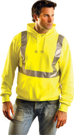Occunomix Class 2 Hoodie Sweatshirt - Front view of man wearing Occunomix yellow zipper front hoodie sweatshirt with 2 front pockets, drawstring hood and silver reflective tape placed horizontally around mid section of sweatshirt and vertically up front and over shoulders
