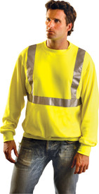 Occunomix Class 2 Yellow Crew HV Sweatshirt - Front view of man wearing Occunomix yellow pullover hoodie sweatshirt with 1 pouch pocket, drawstring hood and silver reflective tape placed horizontally around mid section of sweatshirt and vertically up front and over shoulders