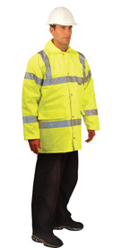 Occunomix Premium 5-In-1 Class 3  Winter Parka - Front view of  Occunomix yellow winter parka snap closure, collar, 2 silver reflective tape placed horizontally around mid section and waist of coat, 2 silver reflective tape placed on both arms below elbow and above elbow and silver reflective tape placed vertically up front and over shoulders and 2 large lower front pockets.