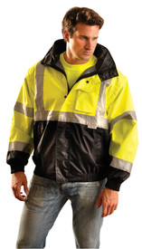 Occunomix Class 3 Waterproof Black Bottom Bomber Jacket - Front view of  man wearing Occunomix yellow and black bottom high visibility bomber Jacket with zipper and snap front closure, storm flap, 2 lower slat pockets, elastic waist ,mid section left front radio pocket with flap, 2 silver reflective tape placed on both arms below and above elbows, silver reflective tape placed horizontally around coat mid section and silver reflective tape placed vertically going up front of both sides of coat and over shoulders.