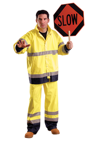 Occunomix 34 Inch Length Class 3 Waterproof Rain Jacket - Front view of  man wearing Occunomix yellow high visibility rain jacket with snap front closure, 2 lower slat pockets, 1 silver reflective tape placed on both arms, 2 silver reflective tape placed horizontally around coat mid section and waist and wearing matching rain pants with 2 silver reflective tape below the knees.