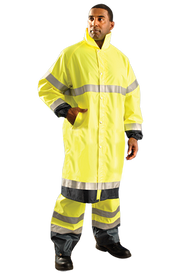 Occunomix Class 3 Long 48 Inch Waterproof Rain Coat - Front view of man wearing Occunomix 48 inch yellow Hi-Viz long rain coat and matching rain pants. Rain Coat has button front closure, 2 inch silver reflective tape going 360 around the upper body, 360 around the both sleeves above the elbow and on the wrists and around the lower portion of the coat.  The coat edging has 2 inches of black and the sleeve material is 2 inch black on the wrists area.. Rain coat also has stand up collar and 2 front slat pockets