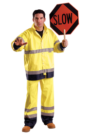 Occunomix Class E Hi Viz Waterproof PU Coating Rain Pants - Front View of Man holding a stop sign and wearing Occunomix yellow short rain coat and matching rain pants. Rain pants have two 2 inch silver reflective tape going 360 around both legs below the knees for a total of 4 reflective tape. Lower bottom legs have 4 to 6 inches of black trim