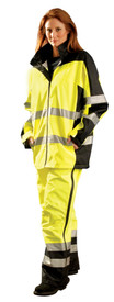 Occunomix Class 3 Heavy Duty Waterproof Rain Jacket - Front view of  woman wearing Occunomix yellow and black high visibility rain jacket and matching rain pants. Rain Jacket has zipper front closure, 2 lower pockets, 2 silver reflective tape placed on both arms below and above elbows, 2 silver reflective tape placed horizontally around coat mid section and waist.