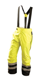 Occunomix Class E Heavy Duty Waterproof Rain Pant - Front view of  Occunomix yellow and black high visibility rain pants with elastic suspenders, 2 side pockets, 2 silver reflective tape placed on both legs below the knees.