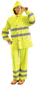 Occunomix Class 3 Detachable Hood Rain Jacket - Front view of  woman wearing Occunomix yellow high visibility rain jacket and pants. Jacket has attached hood, 2 lower deep pockets with flaps, snap closure and 2 silver reflective tape placed on both arms below the elbows and 2 silver reflective tape placed horizontally at waist and mid section of coats. Pants have 2 silver reflective tape placed below the knees.