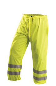 Occunomix Class E Hi Viz Mesh Pants - Front view of  Occunomix yellow high visibility mesh pants with 2 silver reflective tape placed on both legs below the knees and drawstring waist.