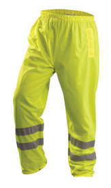 Occunomix Class E Hi Viz Breathable Pants - Front view of  Occunomix yellow high visibility solid pants with 2 silver reflective tape placed on both legs below the knees and elastic waist.
