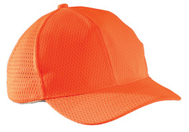 Occunomix Hi-Viz Mesh & Sweatband Ball Cap - Front view of  Occunomix orange Hi-Viz baseball style cap with front hard bill and mesh sides